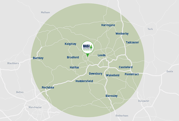 Basi Heating central heating and gas installation services area of coverage map