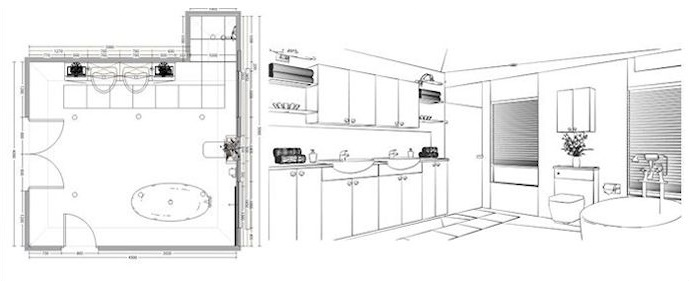 bathroom cad drawing